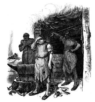 A black and white rendering of someone blacksmithing at the turn of last century.