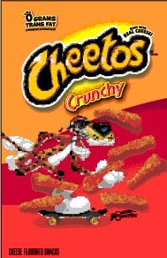 A bag of Cheetos, a crunchy cheesy snack.